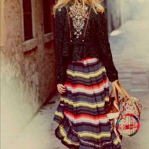 🐘 Free People pleated hi low maxi skirt L🐘
